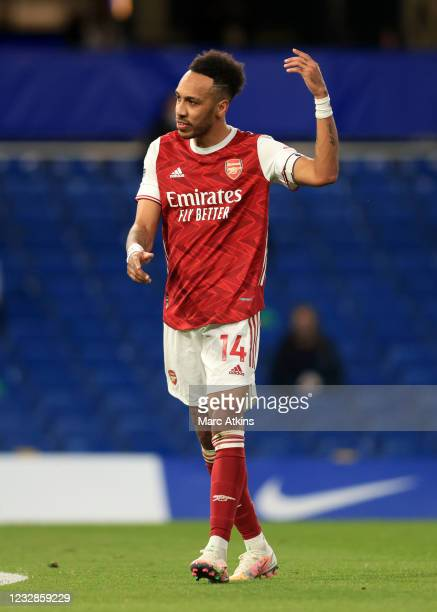 Pierre-Emerick Aubameyang of Arsenal reacts during the Premier League match between Chelsea and Arsenal at Stamford Bridge on May 12, 2021 in London,...