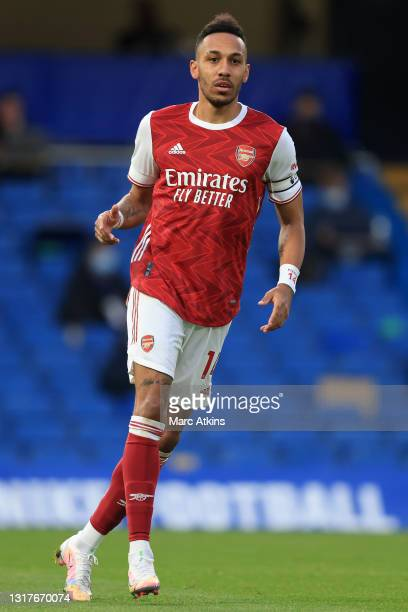 Pierre-Emerick Aubameyang of Arsenal runs on during the Premier League match between Chelsea and Arsenal at Stamford Bridge on May 12, 2021 in...