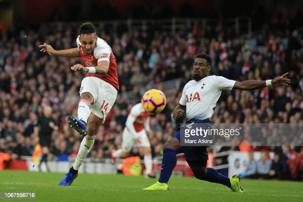 PierreEmerick Aubameyang of Arsenal scores a goal to make it 22 during the Premier League match between Arsenal FC and Tottenham Hotspur at Emirates...