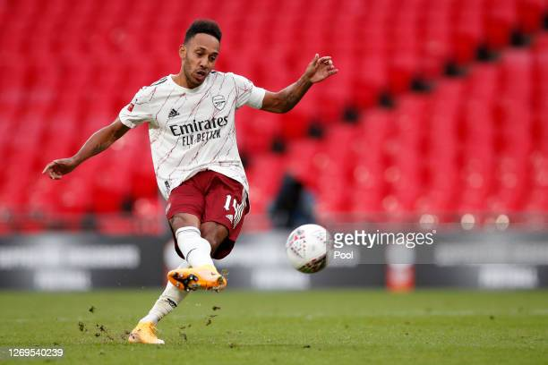 Pierre-Emerick Aubameyang of Arsenal scores his penalty in the penalty shoot out to win the match during the FA Community Shield final between...