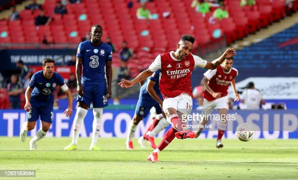 Pierre-Emerick Aubameyang of Arsenal scores his sides first goal from the penalty spot during the Heads Up FA Cup Final match between Arsenal and...