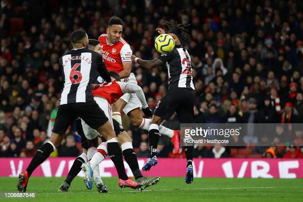 Pierre-Emerick Aubameyang of Arsenal scores his sides first goal during the Premier League match between Arsenal FC and Newcastle United at Emirates...