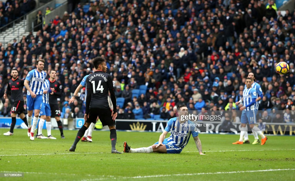 Pierre-Emerick Aubameyang of Arsenal scores his sides first goal during the Premier League match between Brighton and Hove Albion and Arsenal at Amex Stadium on March 4, 2018 in Brighton, England.