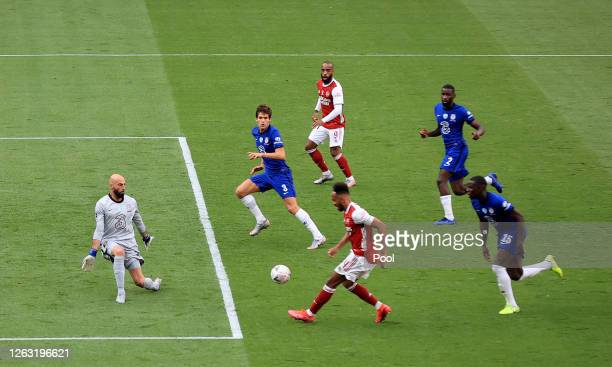 Pierre-Emerick Aubameyang of Arsenal scores his sides second goal during the Heads Up FA Cup Final match between Arsenal and Chelsea at Wembley...
