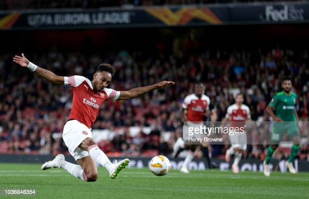 PierreEmerick Aubameyang of Arsenal scores his team's first goal during the UEFA Europa League Group E match between Arsenal and Vorskla Poltava at...