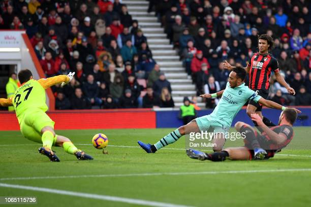 PierreEmerick Aubameyang of Arsenal scores his team's second goal during the Premier League match between AFC Bournemouth and Arsenal FC at Vitality...