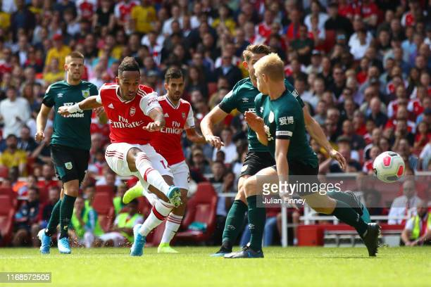PierreEmerick Aubameyang of Arsenal scores his team's second goal during the Premier League match between Arsenal FC and Burnley FC at Emirates...