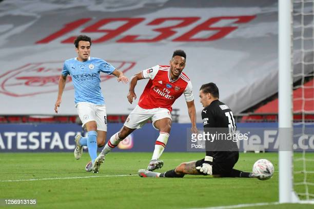 Pierre-Emerick Aubameyang of Arsenal scores his team's second goal during the FA Cup Semi Final match between Arsenal and Manchester City at Wembley...