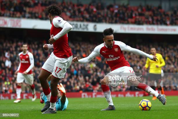 PierreEmerick Aubameyang of Arsenal scores the 2nd Arsenal goal during the Premier League match between Arsenal and Watford at Emirates Stadium on...