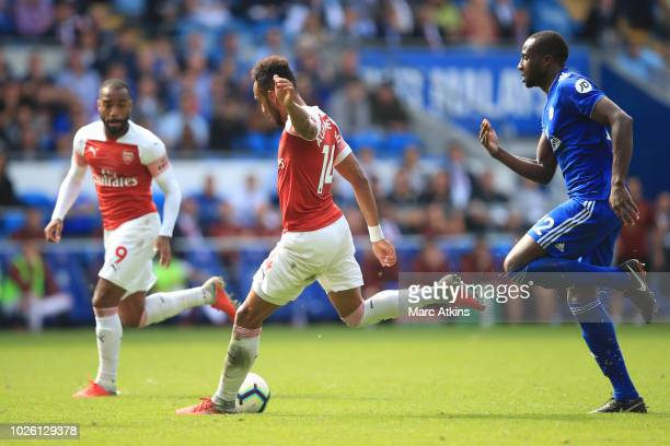 PierreEmerick Aubameyang of Arsenal scores their 2nd goal during the Premier League match between Cardiff City and Arsenal FC at Cardiff City Stadium...