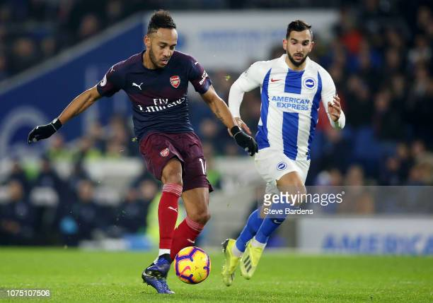 PierreEmerick Aubameyang of Arsenal shoots during the Premier League match between Brighton Hove Albion and Arsenal FC at American Express Community...