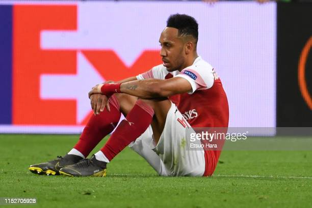 PierreEmerick Aubameyang of Arsenal shows dejection after the UEFA Europa League Final between Chelsea and Arsenal at Baku Olimpiya Stadionu on May...