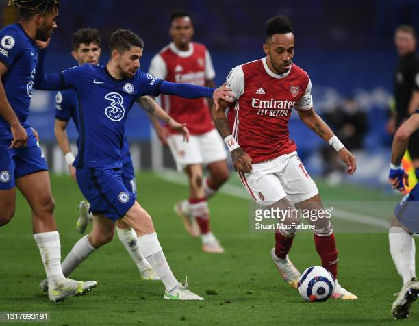 Pierre-Emerick Aubameyang of Arsenal takes on Jorginho of Chelsea during the Premier League match between Chelsea and Arsenal at Stamford Bridge on...