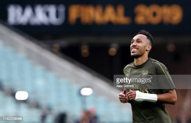 PierreEmerick Aubameyang of Arsenal trains during an Arsenal training session on the eve of the UEFA Europa League Final against Chelsea at Baku...