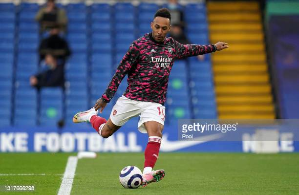 Pierre-Emerick Aubameyang of Arsenal warms up ahead of the Premier League match between Chelsea and Arsenal at Stamford Bridge on May 12, 2021 in...
