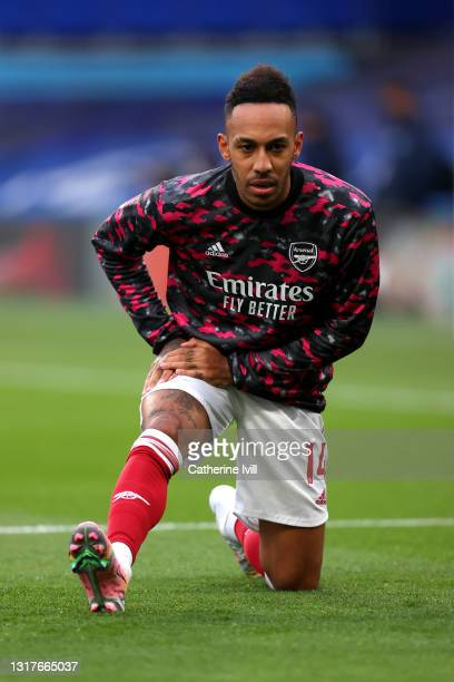 Pierre-Emerick Aubameyang of Arsenal warms up prior to the Premier League match between Chelsea and Arsenal at Stamford Bridge on May 12, 2021 in...