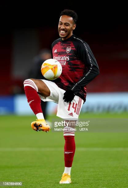 PierreEmerick Aubameyang of Arsenal warms up prior to the UEFA Europa League Group B stage match between Arsenal FC and Dundalk FC at Emirates...