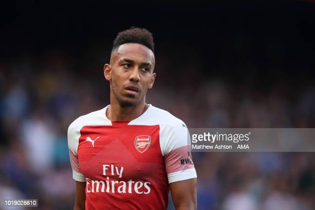 PierreEmerick Aubameyang of Arsenalduring the Premier League match between Chelsea FC and Arsenal FC at Stamford Bridge on August 18 2018 in London...
