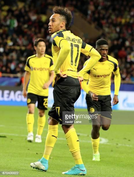MONACO MONACO APRIL PierreEmerick Aubameyang of Borrussia Dortmund is disapointed with Shinji Kagawa and Ousmane Dembele during the UEFA Champions...