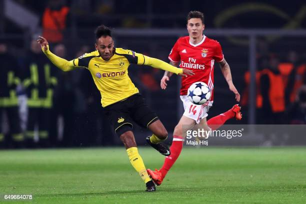 PierreEmerick Aubameyang of Borussia Dortmund battles for the ball with Victor Lindelöf of SL Benfica during the UEFA Champions League Round of 16...