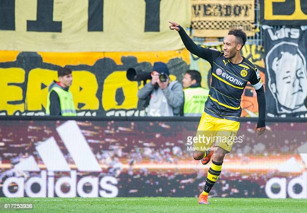 PierreEmerick Aubameyang of Borussia Dortmund celebrate the 21 goal during the Bundesliga match between FC Ingolstadt 04 and Borussia Dortmund at...