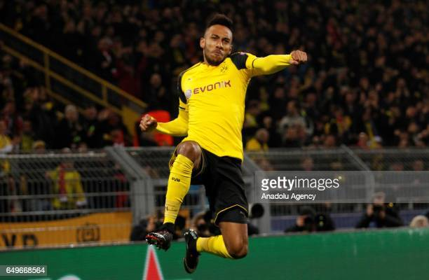 PierreEmerick Aubameyang of Borussia Dortmund celebrates after scoring a goal during the UEFA Champions League round of 16 soccer match between...