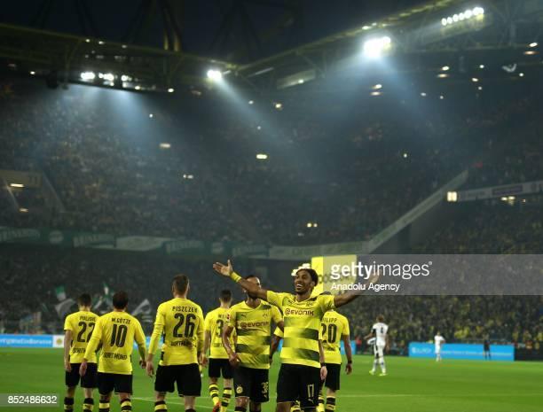 PierreEmerick Aubameyang of Borussia Dortmund celebrates after scoring a goal during the Bundesliga soccer match between Borussia Dortmund and...