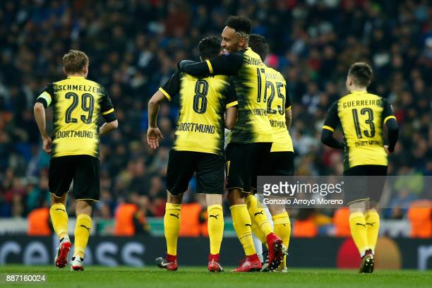 PierreEmerick Aubameyang of Borussia Dortmund celebrates after scoring his sides second goal with Nuri Sahin of Borussia Dortmund during the UEFA...