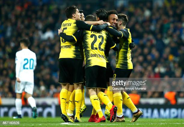 PierreEmerick Aubameyang of Borussia Dortmund celebrates after scoring his sides second goal with team mates during the UEFA Champions League group H...