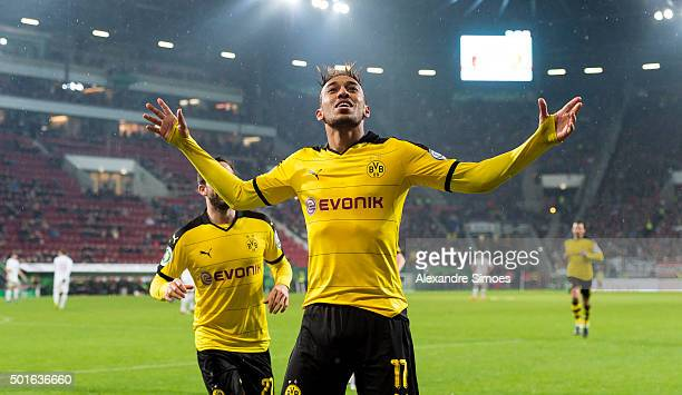 PierreEmerick Aubameyang of Borussia Dortmund celebrates after scoring the opening goal during the DFB Cup match between FC Augsburg and Borussia...