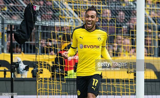PierreEmerick Aubameyang of Borussia Dortmund celebrates after scoring the goal to the 40 during the Bundesliga match between Borussia Dortmund and...