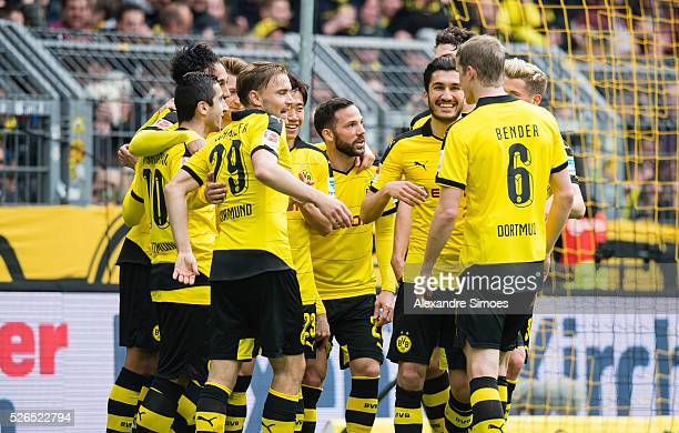 PierreEmerick Aubameyang of Borussia Dortmund celebrates after scoring the goal to the 40 together with Henrikh Mkhitaryan during the Bundesliga...