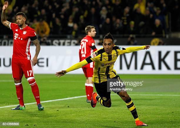 PierreEmerick Aubameyang of Borussia Dortmund celebrates after scoring the goal during the Bundesliga football match between Borussia Dortmund and FC...
