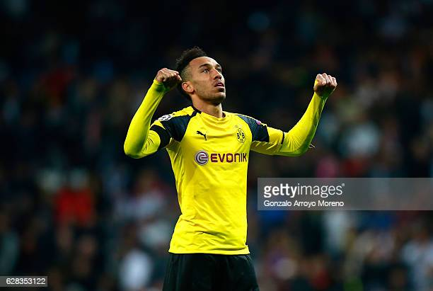 PierreEmerick Aubameyang of Borussia Dortmund celebrates after the final whistle during the UEFA Champions League Group F match between Real Madrid...