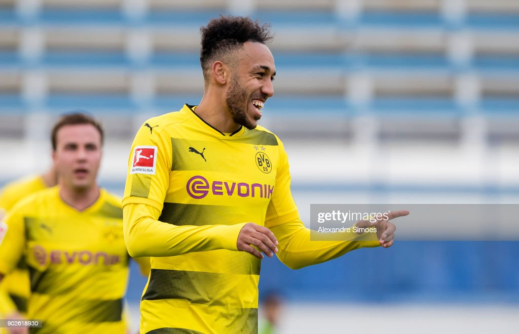 Pierre-Emerick Aubameyang of Borussia Dortmund celebrates after scoring the goal to the 3:2 during a friendly match between Borussia Dortmund and SV Zulte Waregem as part of the training camp at the Estadio Municipal de Marbella on January 08, 2018 in Marbella, Spain.
