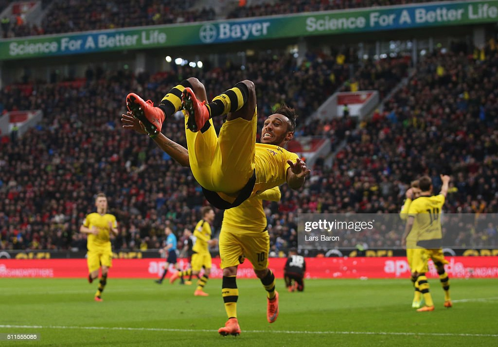 Pierre-Emerick Aubameyang of Borussia Dortmund celebrates as he scores their first goal during the Bundesliga match between Bayer Leverkusen and Borussia Dortmund at BayArena on February 21, 2016 in Leverkusen, Germany.