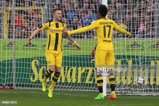 Pierre-Emerick Aubameyang of Borussia Dortmund celebrates his 2nd goal with Marco Reus of Dortmund during the Bundesliga match between Sport Club...