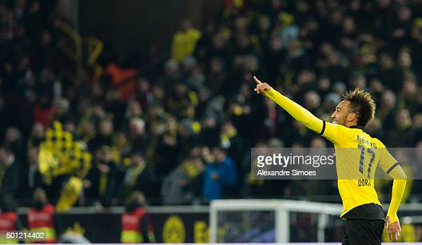 PierreEmerick Aubameyang of Borussia Dortmund celebrates his goal to the 21 during the Bundesliga match between Borussia Dortmund and Eintracht...
