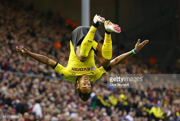 PierreEmerick Aubameyang of Borussia Dortmund celebrates scoring his team's second goal during the UEFA Europa League quarter final second leg match...