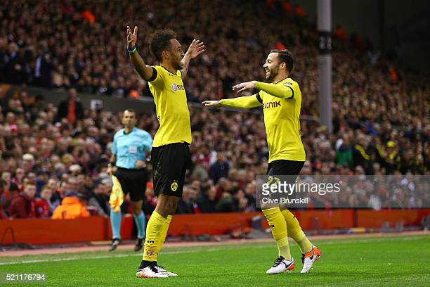 PierreEmerick Aubameyang of Borussia Dortmund celebrates scoring his team's second goal with Gonzalo Castro during the UEFA Europa League quarter...