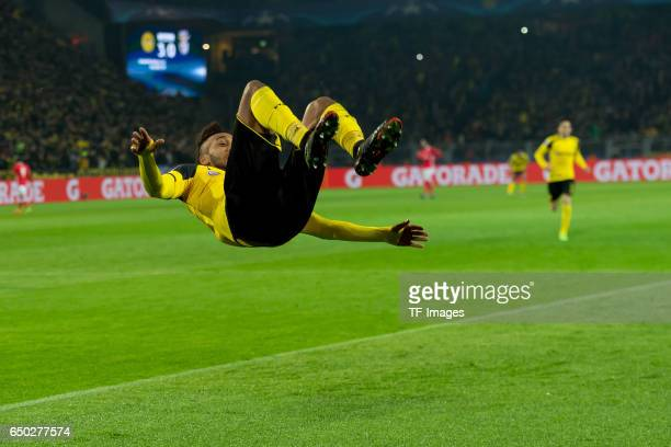 PierreEmerick Aubameyang of Borussia Dortmund celebrates scoring his team's fourth goal to make the score 40 and complete his hattrick during the...