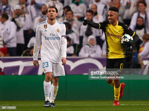 PierreEmerick Aubameyang of Borussia Dortmund celebrates scoring his team's first goal during the UEFA Champions League group H match between Real...