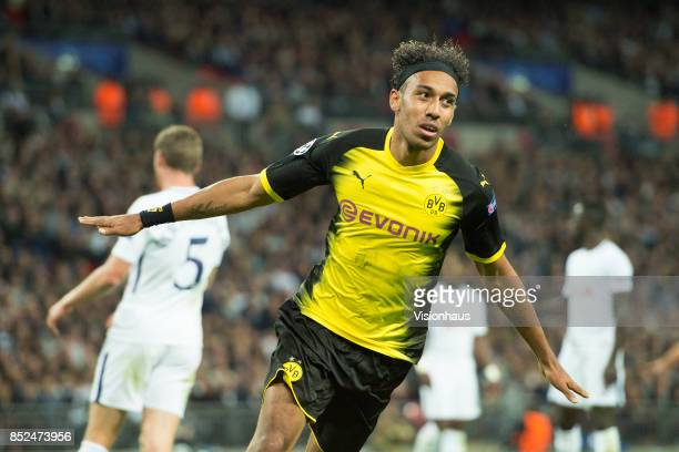 PierreEmerick Aubameyang of Borussia Dortmund celebrates scoring only for the goal to be disallowed during the UEFA Champions League match between...