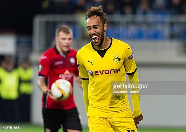 PierreEmerick Aubameyang of Borussia Dortmund celebrates scoring the goal to 03 during the UEFA Europa League match between Qabala FK and Borussia...