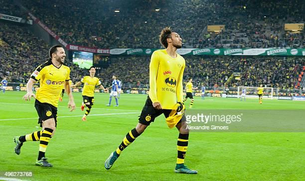 PierreEmerick Aubameyang of Borussia Dortmund celebrates scoring the goal to the 31 during the Bundesliga match between Borussia Dortmund and FC...