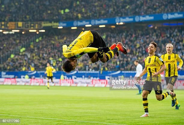 PierreEmerick Aubameyang of Borussia Dortmund celebrates scoring the opening goal during the Bundesliga match between Hamburger SV and Borussia...