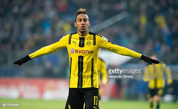 PierreEmerick Aubameyang of Borussia Dortmund celebrates scoring the fourth goal in a row during the Bundesliga match between Hamburger SV and...