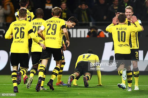PierreEmerick Aubameyang of Borussia Dortmund celebrates scoring the opening goal during the Bundesliga match between Borussia Dortmund and Bayern...