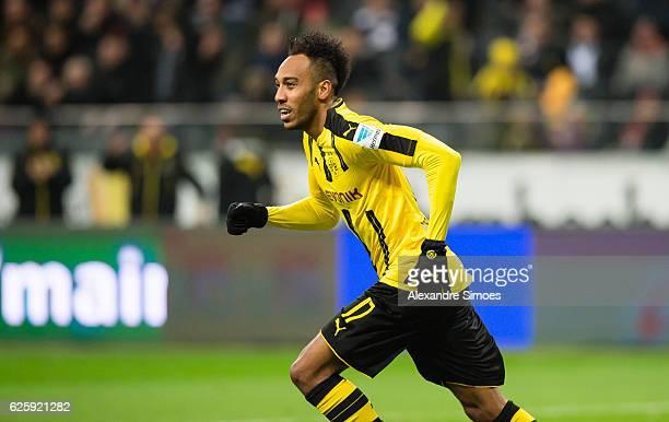 PierreEmerick Aubameyang of Borussia Dortmund celebrates scoring the goal to the 11 during the Bundesliga match between Eintracht Frankfurt and...