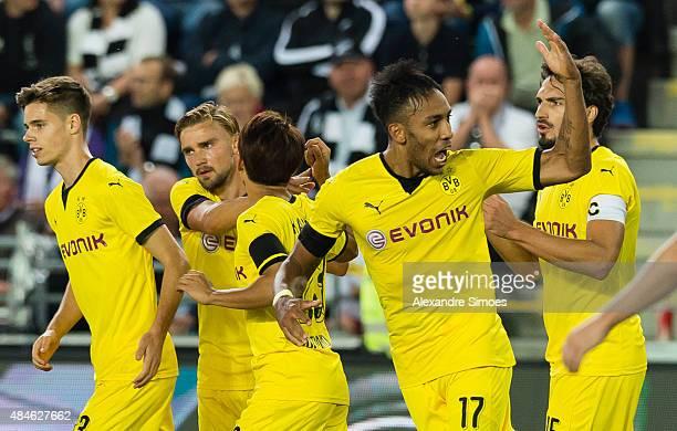 PierreEmerick Aubameyang of Borussia Dortmund celebrates scoring to make it 33 during the UEFA Europa League Third Qualifying Round 1st Leg match...